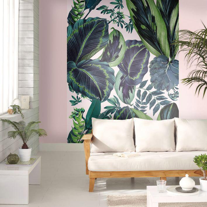 Papier Peint Intissé Jungle Panoramique Pink Jungle Vert Blanc