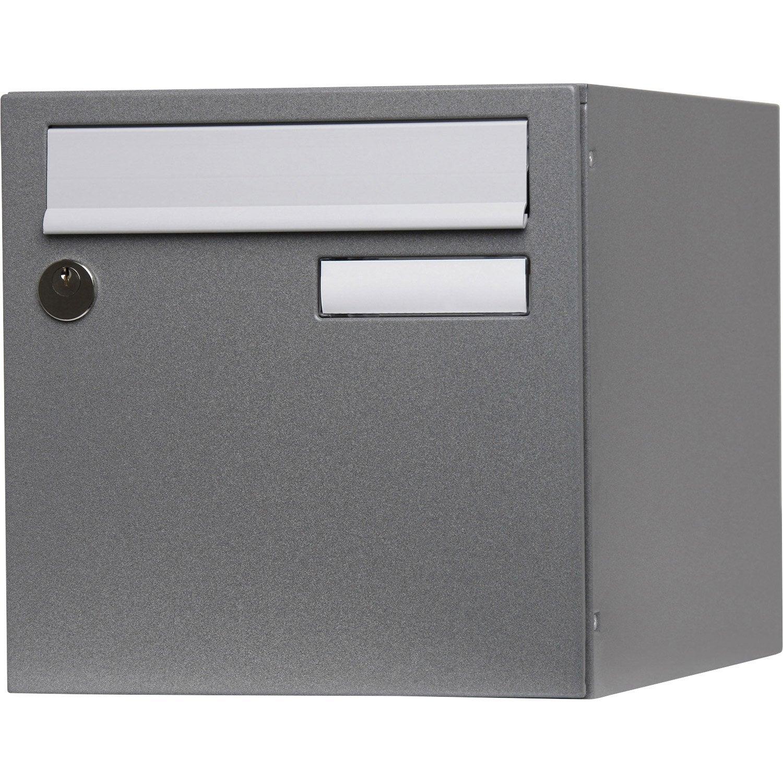 Boîte Aux Lettres Normalisée 1 Porte Extérieur Renz Acier Gris Brillant