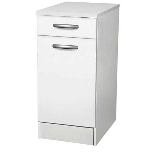 Meuble de cuisine bas 1 porte 1 tiroir blanc h86x l40x - Meuble bas cuisine 30 cm largeur ...