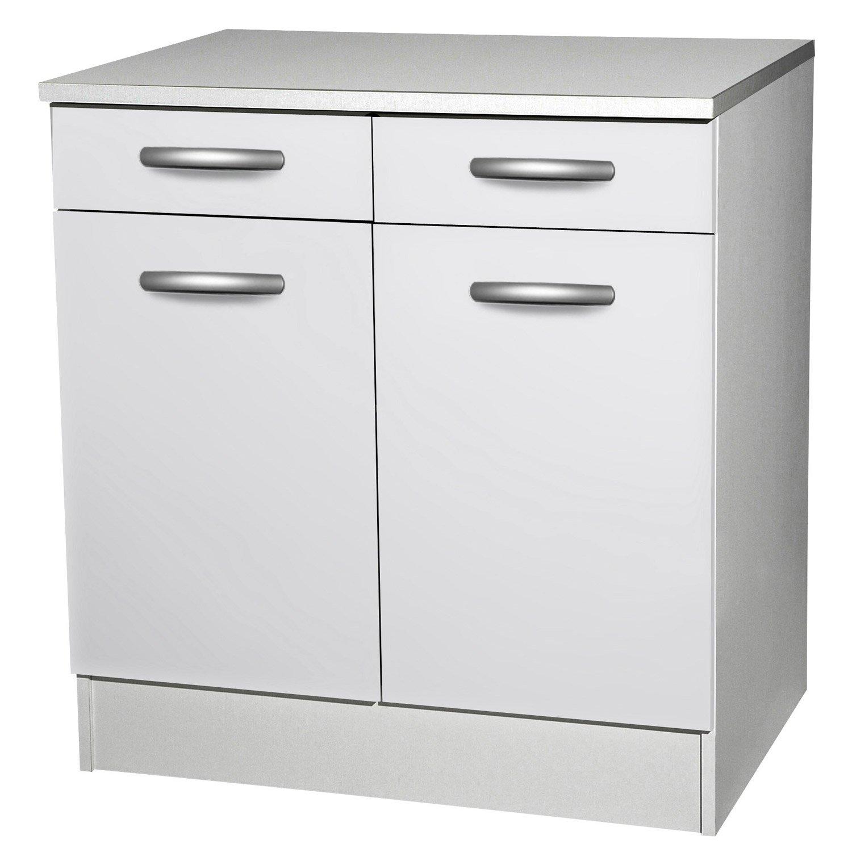 Meuble de cuisine bas 2 portes + 2 tiroirs, blanc, h86x l80x p60cm ...