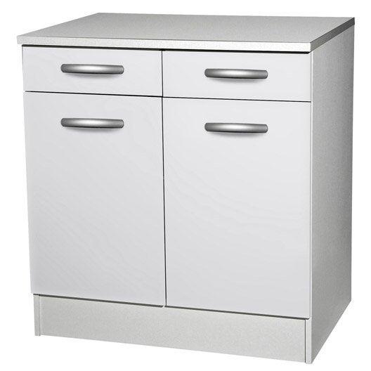 Meuble de cuisine bas 2 portes 2 tiroirs blanc h86x - Meuble cuisine melamine blanc ...
