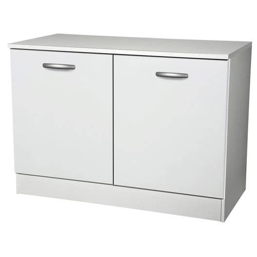 meuble de cuisine bas 2 portes blanc h86x l120x p60cm. Black Bedroom Furniture Sets. Home Design Ideas