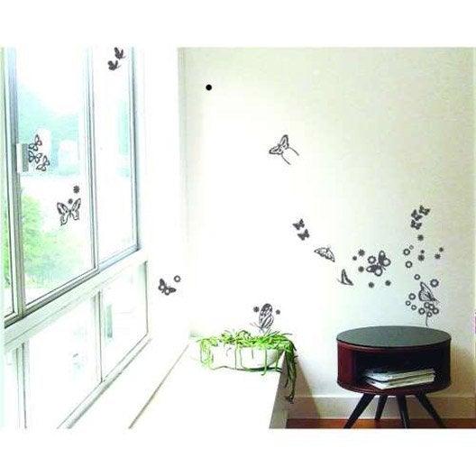 Sticker papillons miroir argent 21 cm x 29 7 cm leroy merlin for Stickers miroir en rouleau