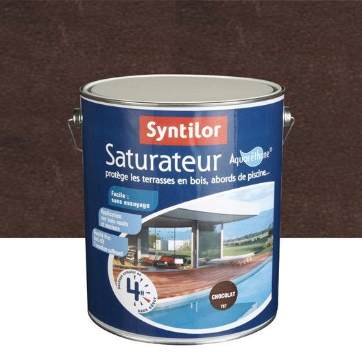 Saturateur bois Aqua SYNTILOR, chocolat, aspect satin, 5 L