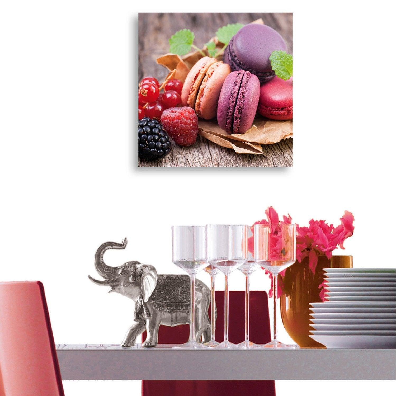 Verre Imprimé Macarons Mix Deco Glass L 20 X H 20 Cm Leroy Merlin