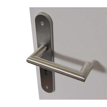 2 poignées de porte Toda trou de clé, acier inoxydable, 195 mm