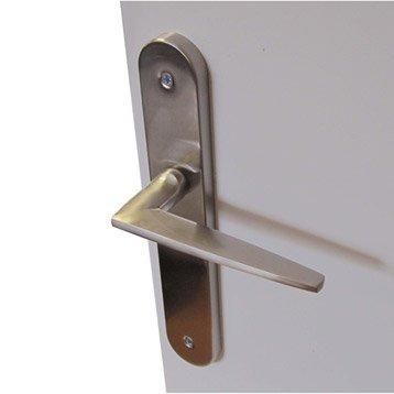 2 poignées de porte Dina sans trou, acier, 195 mm