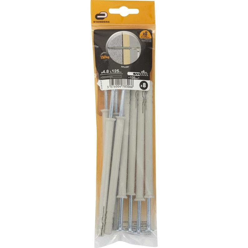 coupon de réduction texture nette acheter en ligne Lot de 8 chevilles et vis à frapper STANDERS, Diam.8 x L.120 mm
