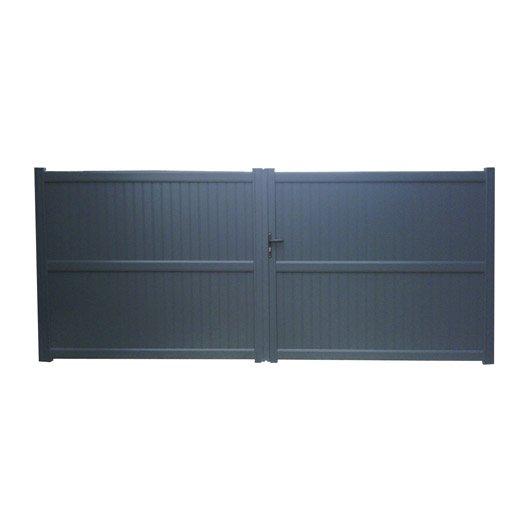 Portail battant aluminium noyal gris anthracite naterial for Portail et portillon en aluminium