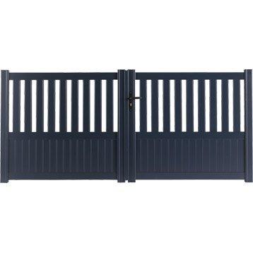 Portail battant aluminium Penmarch gris NATERIAL, l.300 cm x H.135 cm