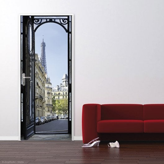 Sticker ondoor rue parisienne 83 cm x 204 cm leroy merlin for Stickers porte dressing