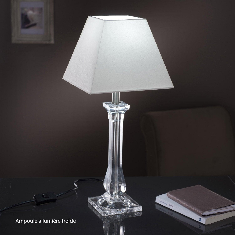 Pied de lampe Fantasy, acrylique transparent, 39 cm