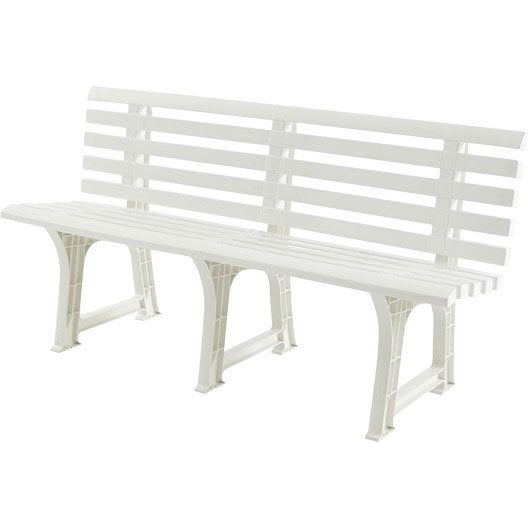 banc 3 places de jardin en r sine plastique isotta blanc leroy merlin. Black Bedroom Furniture Sets. Home Design Ideas