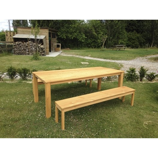 Salon De Jardin Set Ferme Bois Ch Ne Vieilli 1 Table 2 Bancs Leroy Merlin