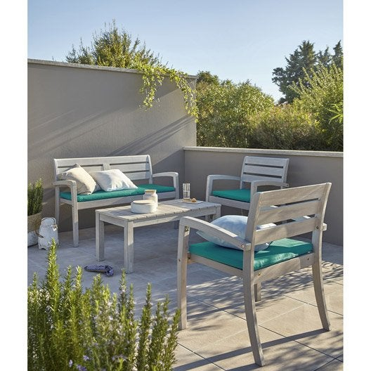 Salon de jardin portofino bois naturel 1 table 2 for Bache salon de jardin leroy merlin