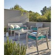 Salon de jardin Portofino bois naturel 1 table+ 2 fauteuils + 1 banc