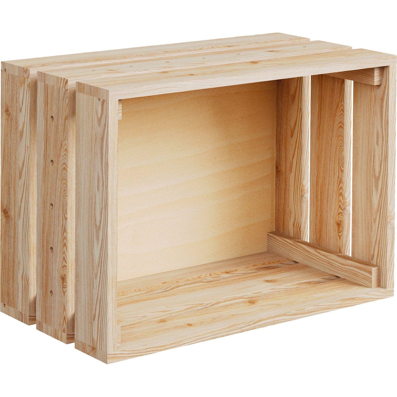 Caisse Monter Home Box Pin L 51 2 X P 38 4 X H 28 Cm Leroy  # Etagere Cagette Bois