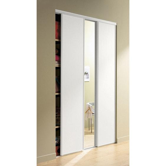 Porte de placard coulissante miroir argent spaceo x cm leroy merlin - Porte placard coulissante bois ...