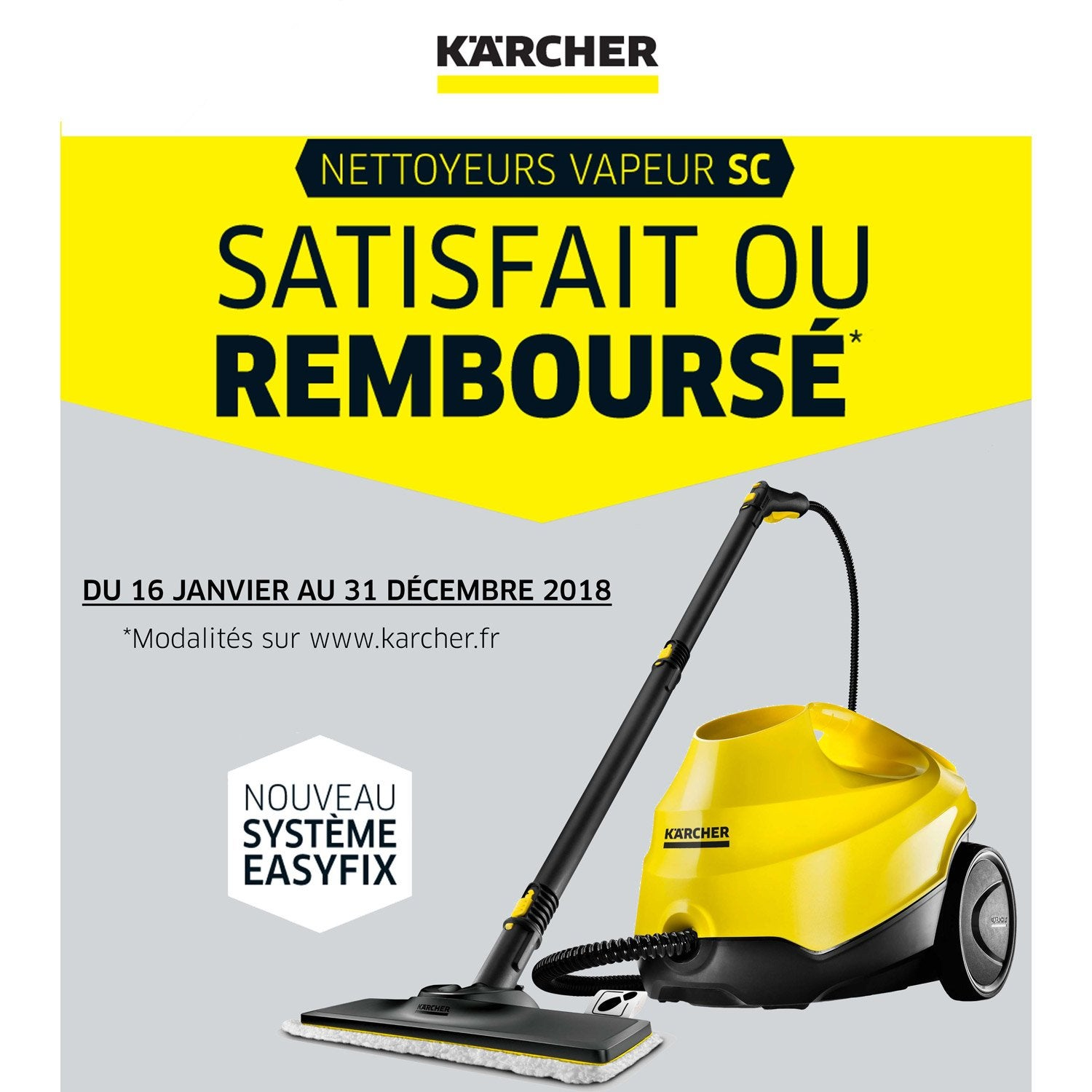 nettoyeur vapeur pour sols karcher sc3 easy fix 1900 w. Black Bedroom Furniture Sets. Home Design Ideas