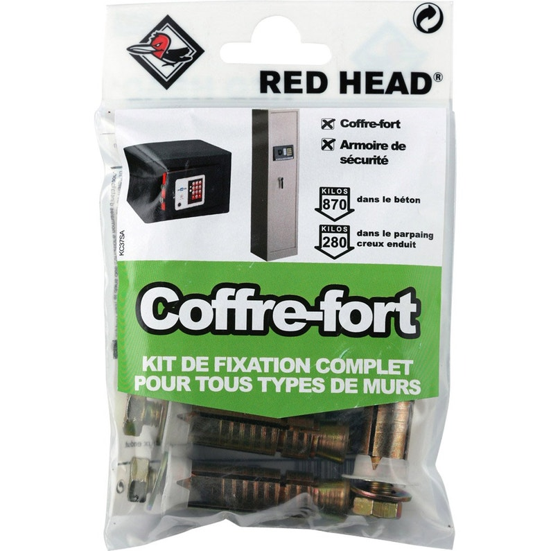Kit Chevilles à Expansion Coffre Fort Red Head Diam14 X L55 Mm
