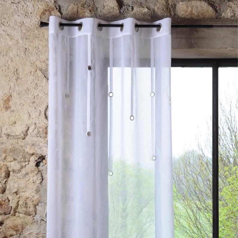 Voilage Transparent Rings Blanc L140 X H260 Cm