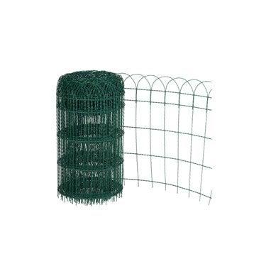 Bordure grillagée soudé Armor vert, H.0.65 x L.10 m, maille H.125 x l.78 mm