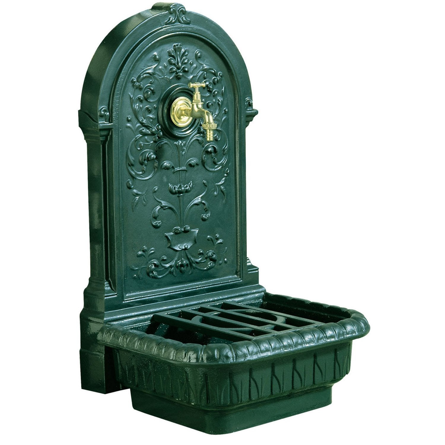 fontaine de jardin en fonte vert renaissance leroy merlin. Black Bedroom Furniture Sets. Home Design Ideas