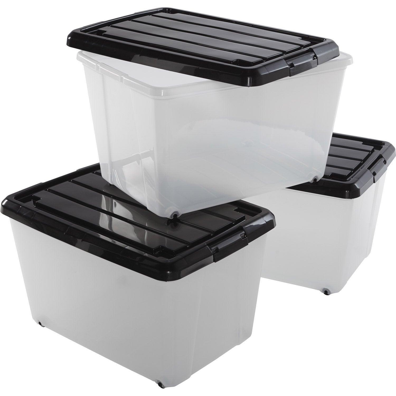 Lot De 3 Boites Roller Box Plastique L 38 X P 55 X H 33 Cm Leroy