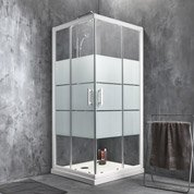 Porte de douche coulissante SENSEA Optima 2 verre sérigraphié blanc