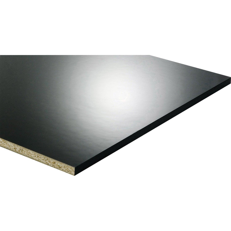 Panneau Melamine Noir Mat tablette mélaminé glossy noir, l.250 x l.60 cm x ep.18 mm