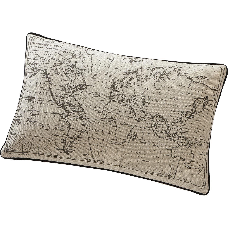Coussin Carte, écru et noir, l.50 x H.30 cm