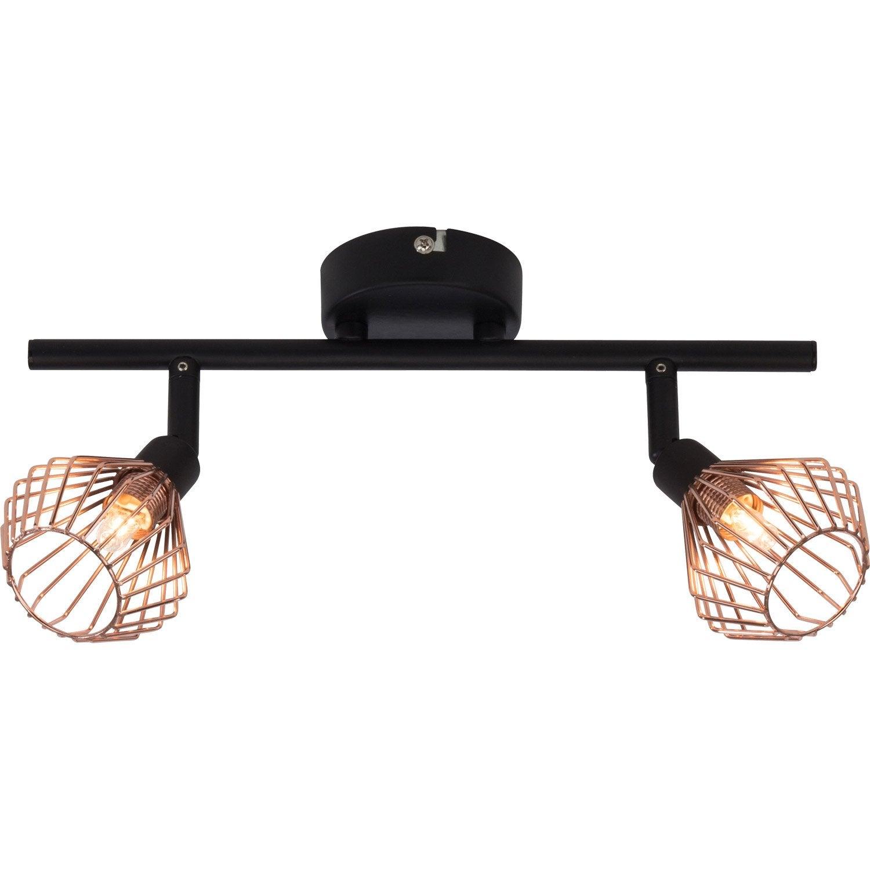 rampe 2 spots industriel dalma 2 xg9 noir brilliant. Black Bedroom Furniture Sets. Home Design Ideas