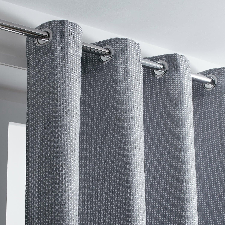 Rideau tamisant, Azurro, gris, l.140 x H.260 cm INSPIRE