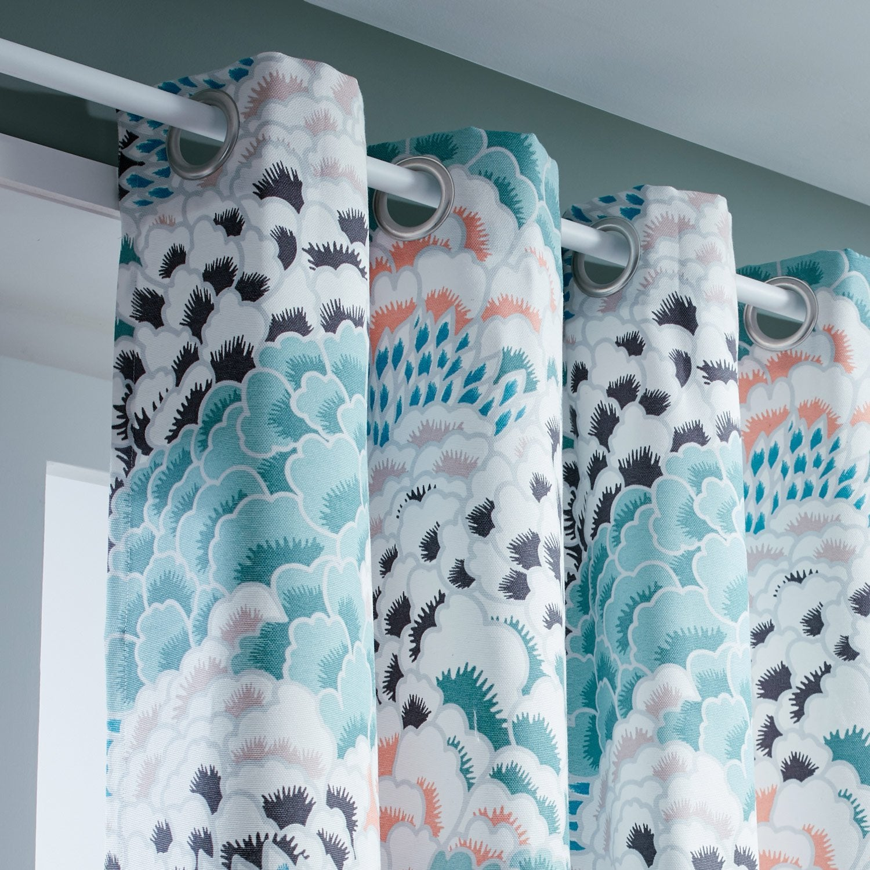 Rideau tamisant, Kabuki, bleu, l.135 x H.250 cm