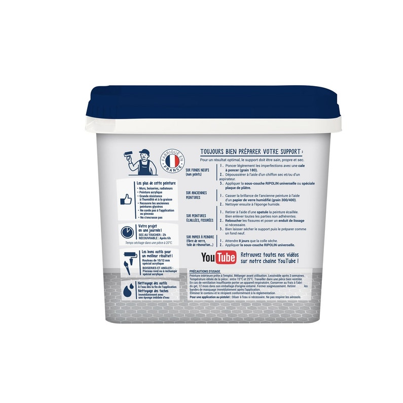 Peinture Mur Cuisine Et Bain Ripolin Blanc Casse 0 75 L Satin