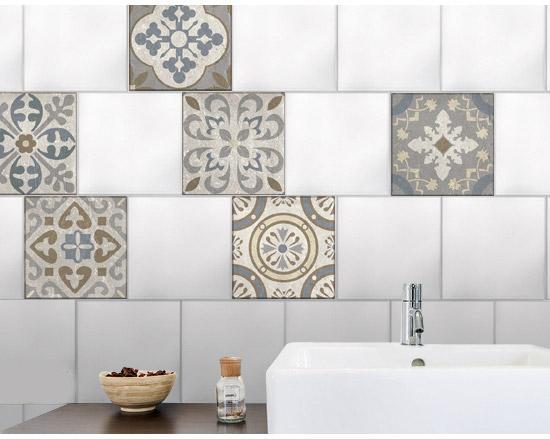 Stickers adhésifs carrelage mur Borgatella 15 cm x 15 cm