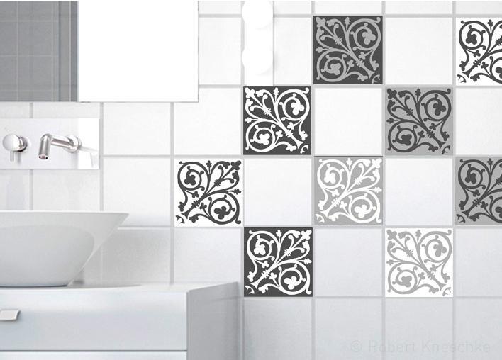 Sticker Carrelage Mural Carreaux De Ciment Baroq 10 Cm X 10 Cm