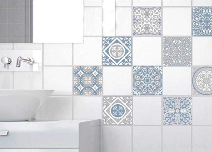 Stickers adhésifs carrelage mur Carreaux de ciment 10 cm x 10 cm