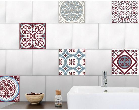 Stickers Adhesifs Carrelage Mural Carreaux De Ciment Rouge Et Bleu