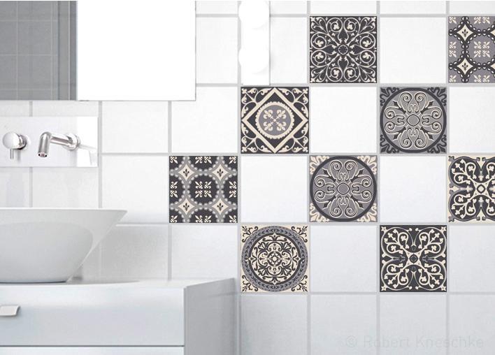 Stickers adhésifs carrelage mur Carreaux de ciment gris 10 cm x 10 cm