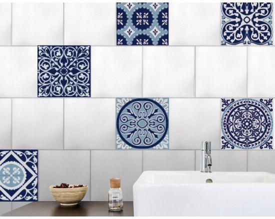 Stickers Adhésifs Carrelage Mural Carreaux De Ciment Gris Bleuté 15 Cm X 15 Cm