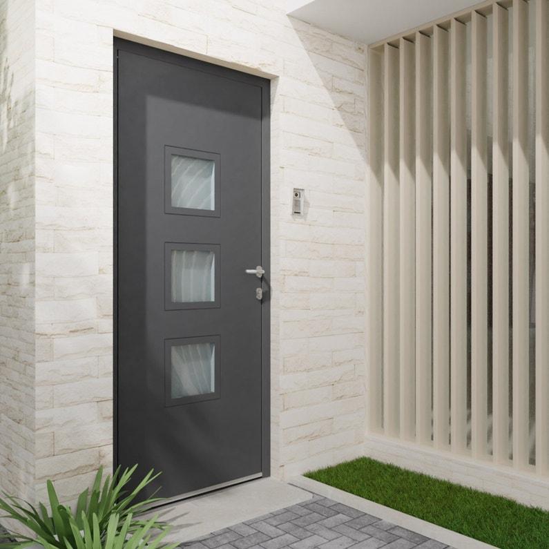 Porte d\'entrée Alu Phenix 2 Essentiel H.215 x l.90 cm vitrée gris  anthracite, PG