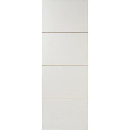 Porte coulissante isoplane pr peinte blanc milan 204 x 73 cm leroy merlin - Porte coulissante pleine ...