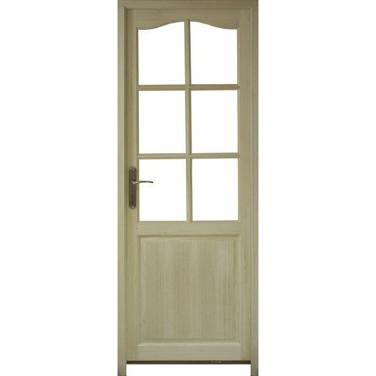 Bloc porte prague vitrer poussant droit 204 x 83 cm for Dimension bloc porte 83