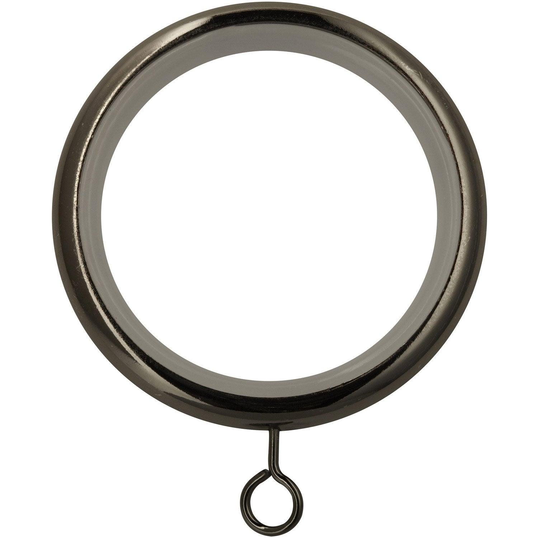 Anneaux tringle à rideau Chic 28 mm acier black nickel INSPIRE ...